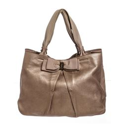 Salvatore Ferragamo Metallic Bronze Leather Miss Vara Bow Tote Bag