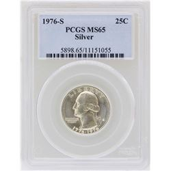 1976-S Washington Quarter Silver Coin PCGS MS65
