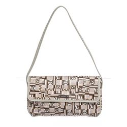 Salvatore Ferragamo White Multicolor Coated Canvas Shoulder Bag