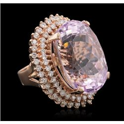 14KT Rose Gold 39.46 ctw GIA Certified Kunzite and Diamond Ring