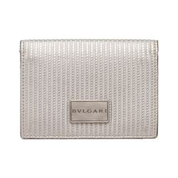 Bvlgari Silver Metallic Leather Cardholder Wallet