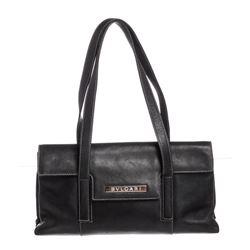 Bvlgari Black Leather Stitch Shoulder Bag