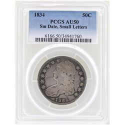 1834 Small Date Small Letters Capped Bust Half Dollar Coin PCGS AU50