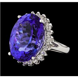 16.60 ctw Tanzanite and Diamond Ring - 14KT White Gold
