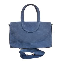 Bvlgari Blue Suede Double Handle Strap Shoulder Bag