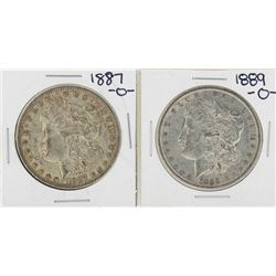 Lot of 1887-O & 1889-O $1 Morgan Silver Dollar Coins