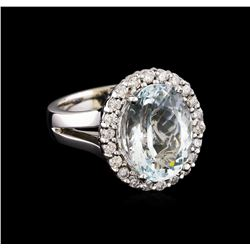 5.67 ctw Aquamarine and Diamond Ring - 14KT White Gold