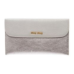 Miu Miu Silver Metallic Leather Long Envelope Wallet