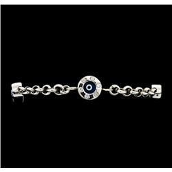 1.35 ctw Diamond Evil Eye Bracelet - 14KT White Gold