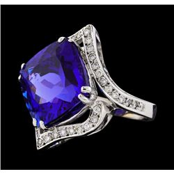 GIA Cert 23.29 ctw Tanzanite and Diamond Ring - 14KT White Gold
