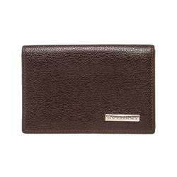 Bvlgari Brown Leather Card Holder Small Wallet