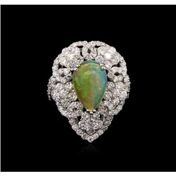 4.50 ctw Opal and Diamond Ring - 18KT White Gold