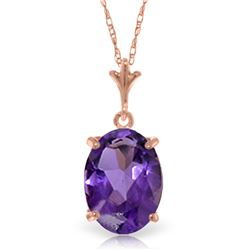 Genuine 3.12 ctw Amethyst Necklace Jewelry 14KT Rose Gold - REF-22A2K
