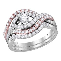 1 CTW Diamond Crossover Bridal Wedding Engagement Ring 14KT Two-tone Gold - REF-101W2K