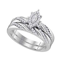 0.25 CTW Diamond Oval Cluster Bridal Engagement Ring 10KT White Gold - REF-30N2F