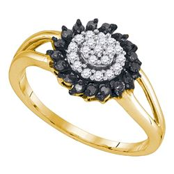 0.25 CTW Black Color Diamond Cluster Ring 10KT Yellow Gold - REF-18K2W