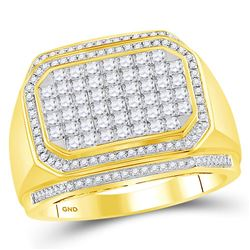 1.69 CTW Mens Diamond Octagon Cluster Ring 14KT Yellow Gold - REF-165X2Y