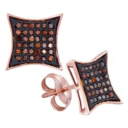 0.20 CTW Red Color Diamond Square Kite Cluster Earrings 10KT Rose Gold - REF-22F4N