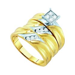 0.38 CTW His & Hers Diamond Matching Bridal Ring 10KT Yellow Gold - REF-52X4Y