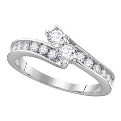 0.75 CTW Diamond 2-stone Hearts Together Bridal Ring 14KT White Gold - REF-86Y2X