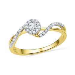 0.25 CTW Diamond Solitaire Bridal Engagement Ring 14KT Yellow Gold - REF-22M4H