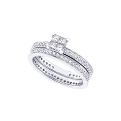 1 CTW Princess Diamond Eternity Bridal Engagement Ring 14KT White Gold - REF-109N4F