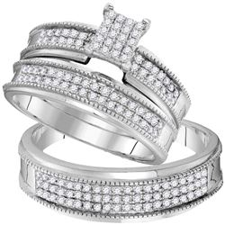 0.75 CTW His & Hers Diamond Cluster Matching Bridal Ring 10KT White Gold - REF-59Y9X