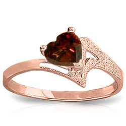 Genuine 0.90 ctw Garnet Ring Jewelry 14KT Rose Gold - REF-36H3X