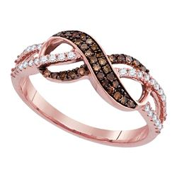 0.35 CTW Cognac-brown Color Diamond Infinity Ring 14KT Rose Gold - REF-33F8N