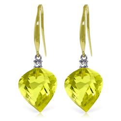 Genuine 21.6 ctw Lemon Quartz & Diamond Earrings Jewelry 14KT Yellow Gold - REF-46N7R