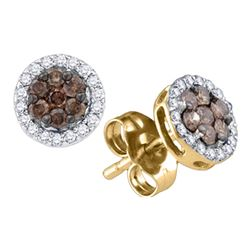 0.25 CTW Cognac-brown Color Diamond Flower Stud Earrings 10KT Yellow Gold - REF-14X9Y