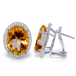 Genuine 9.76 ctw Citrine & Diamond Earrings Jewelry 14KT White Gold - REF-127X8M