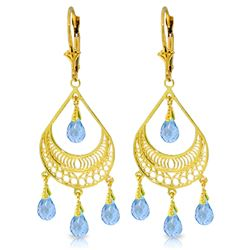 Genuine 6.75 ctw Blue Topaz Earrings Jewelry 14KT Yellow Gold - REF-62H6X