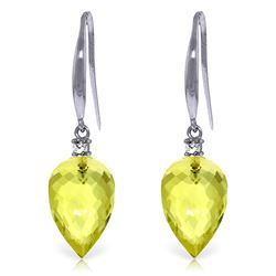 Genuine 18.1 ctw Lemon Quartz & Diamond Earrings Jewelry 14KT White Gold - REF-35H2X
