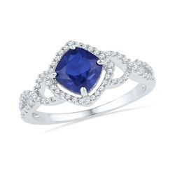 1.1 CTW Princess Created Blue Sapphire Solitaire Diamond Ring 10KT White Gold - REF-24X2Y