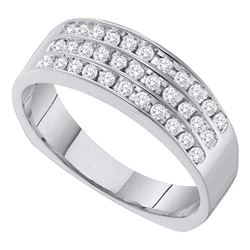 0.50 CTW Mens Pave-set Diamond Triple Row Wedding Ring 14KT White Gold - REF-49W5K