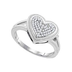 0.15 CTW Diamond Rope Heart Love Cluster Ring 10KT White Gold - REF-25H4M