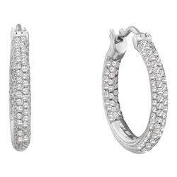 0.50 CTW Pave-set Diamond In/Out Hoop Earrings 14KT White Gold - REF-67N4F