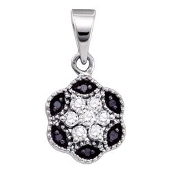 0.22 CTW Black Color Diamond Hexagon Cluster Pendant 10KT White Gold - REF-13M4H