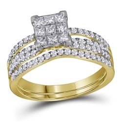 1.01 CTW Princess Diamond Cluster Bridal Engagement Ring 14KT Yellow Gold - REF-89H9M