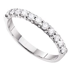 0.50 CTW Pave-set Diamond 3.5mm Wedding Ring 14KT White Gold - REF-30F2N