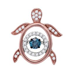 0.33 CTW Blue Color Diamond Turtle Tortoise Moving Pendant 10KT Rose Gold - REF-37W5K