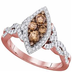 0.84 CTW Brown Diamond Oval Cluster Bridal Engagement Ring 14KT Rose Gold - REF-94W5K