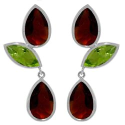 Genuine 13.6 ctw Garnet & Peridot Earrings Jewelry 14KT White Gold - REF-64T4A