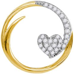 0.25 CTW Diamond Heart Love Circle Pendant 10KT Yellow Gold - REF-25W4K