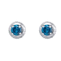 0.50 CTW Blue Color Diamond Solitaire Screwback Stud Earrings 10KT White Gold - REF-26H9M