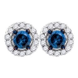 0.50 CTW Blue Color Diamond Solitaire Circle Earrings 10KT White Gold - REF-26M9H