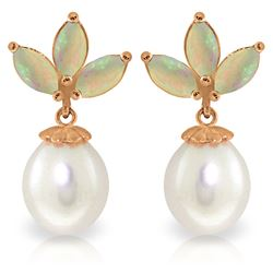 Genuine 9.5 ctw Opal & Pearl Earrings Jewelry 14KT Rose Gold - REF-34T3A