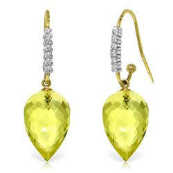 Genuine 18.18 ctw Lemon Quartz & Diamond Earrings Jewelry 14KT Yellow Gold - REF-46F7Z