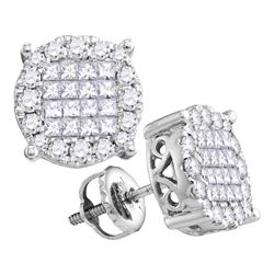 0.98 CTW Princess Diamond Soleil Cluster Earrings 14KT White Gold - REF-97Y4X